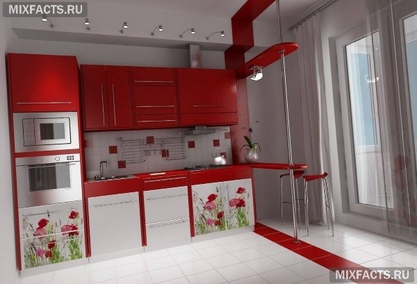 Дизайн кухни с выходом на балкон