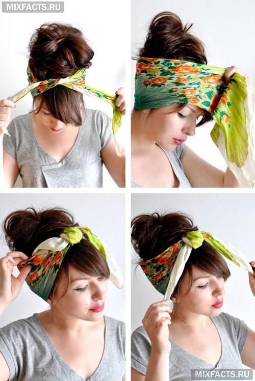 Прически с челкой и повязкой на голове фото