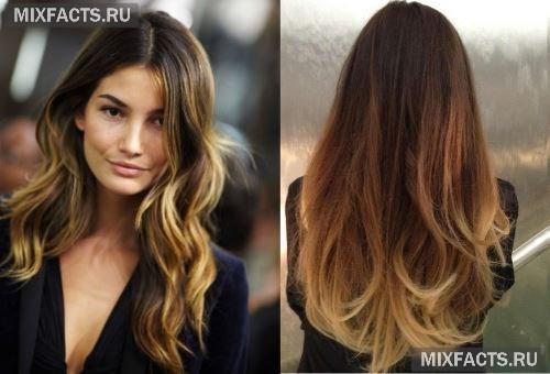 модное окрашивание волос омбре фото