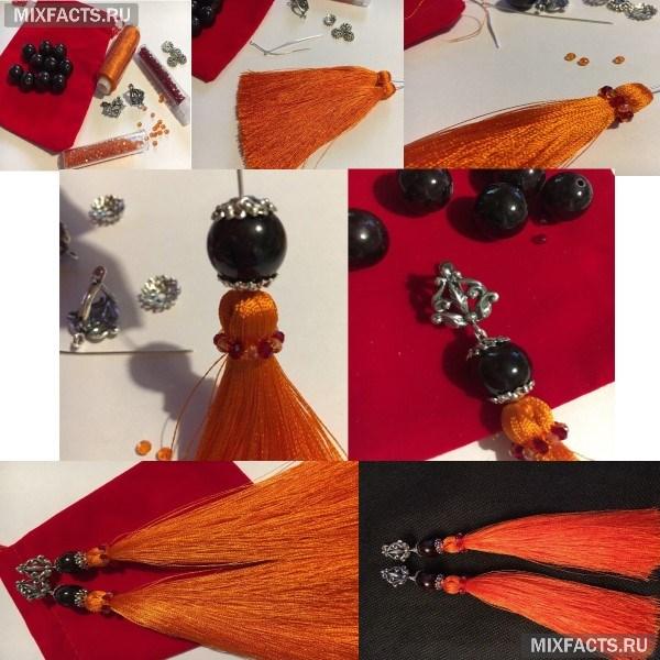 Как сделать серьги-кисти своими руками из бисера, ниток, камней?