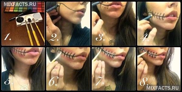 Как сделать шрамы на лице на Хэллоуин в домашних условиях 23
