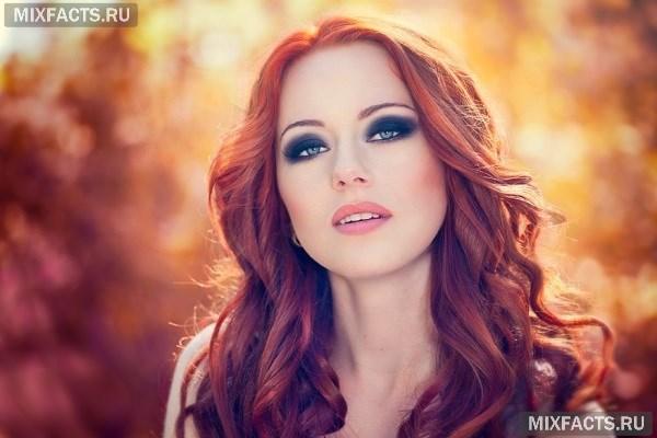 Рыжие волосы зеленые глаза макияж