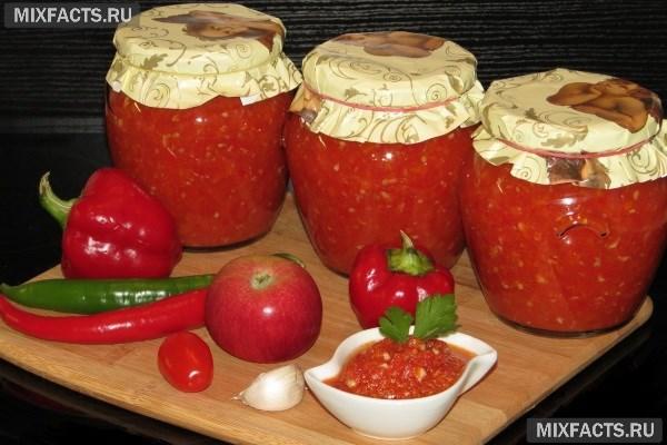 рецепт аджики из помидоров с яблоками антоновка зиму