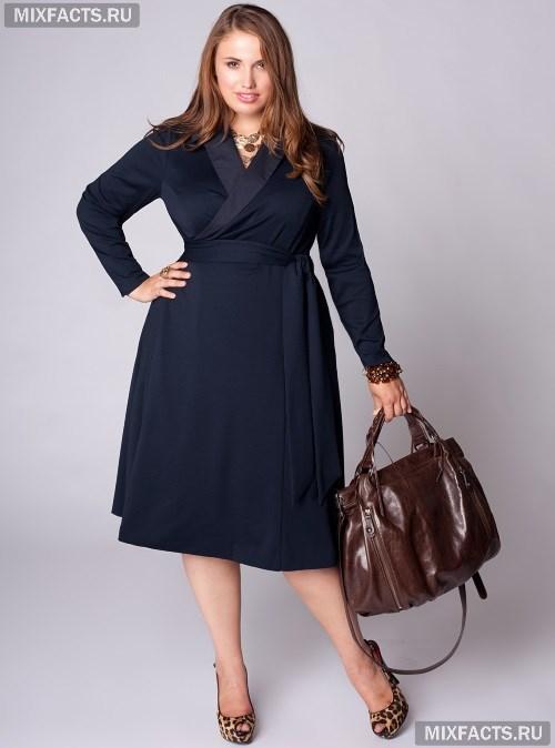 73ca910d6c3 Фасоны платьев для полных женщин с животом. стильное темно-синее платье с  запахом