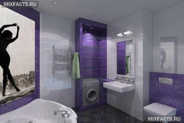 Белая ванная комната с яркими акцентами