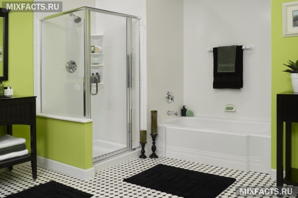 дизайн маленькой ванной комнаты с душевой кабиной и стиральной машиной 6