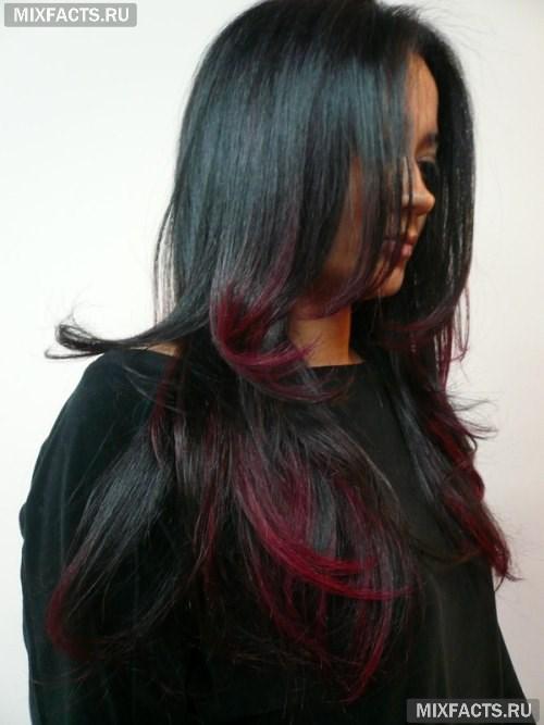 Как на черные волосы сделать красные пряди на 534