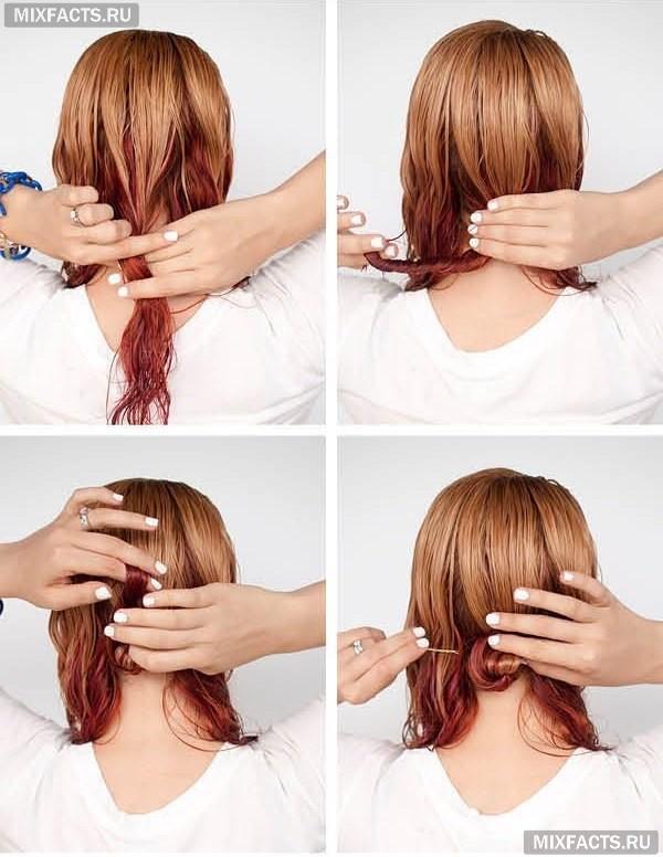 Как сделать причёску из средних волос поэтапно 590