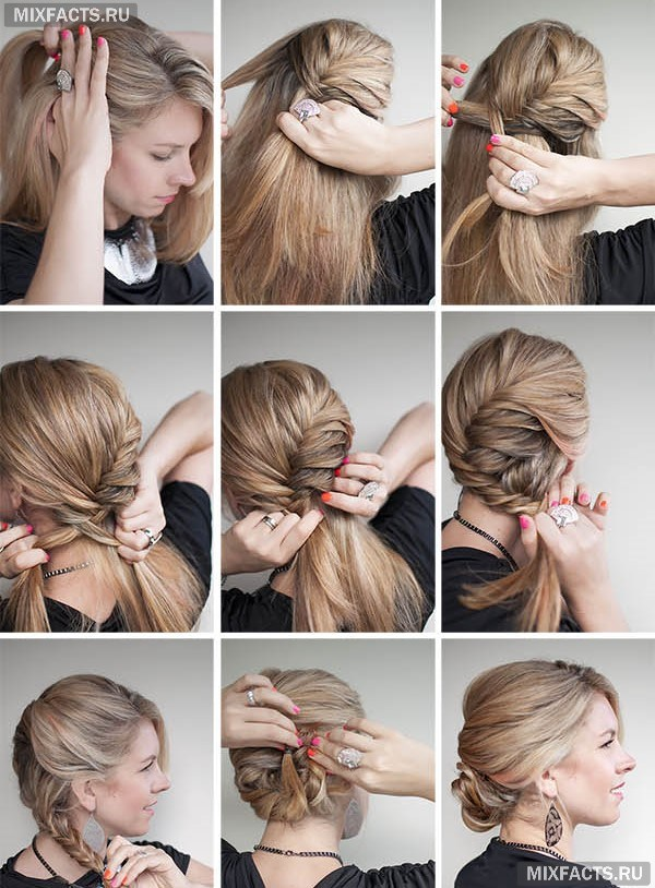 Как сделать быстро красивую прическу с средними волосами 380