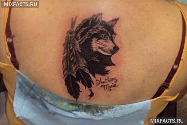Тату волк на шее 59