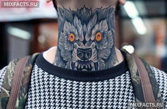 Тату волк на шее 31